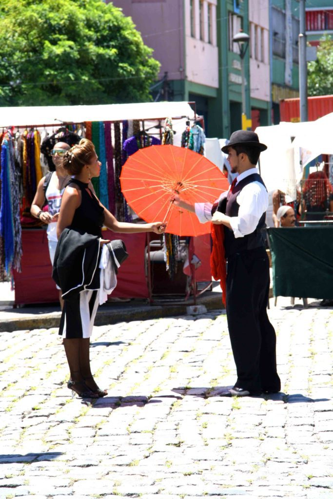 Dancing tango on the street Buenos Aires