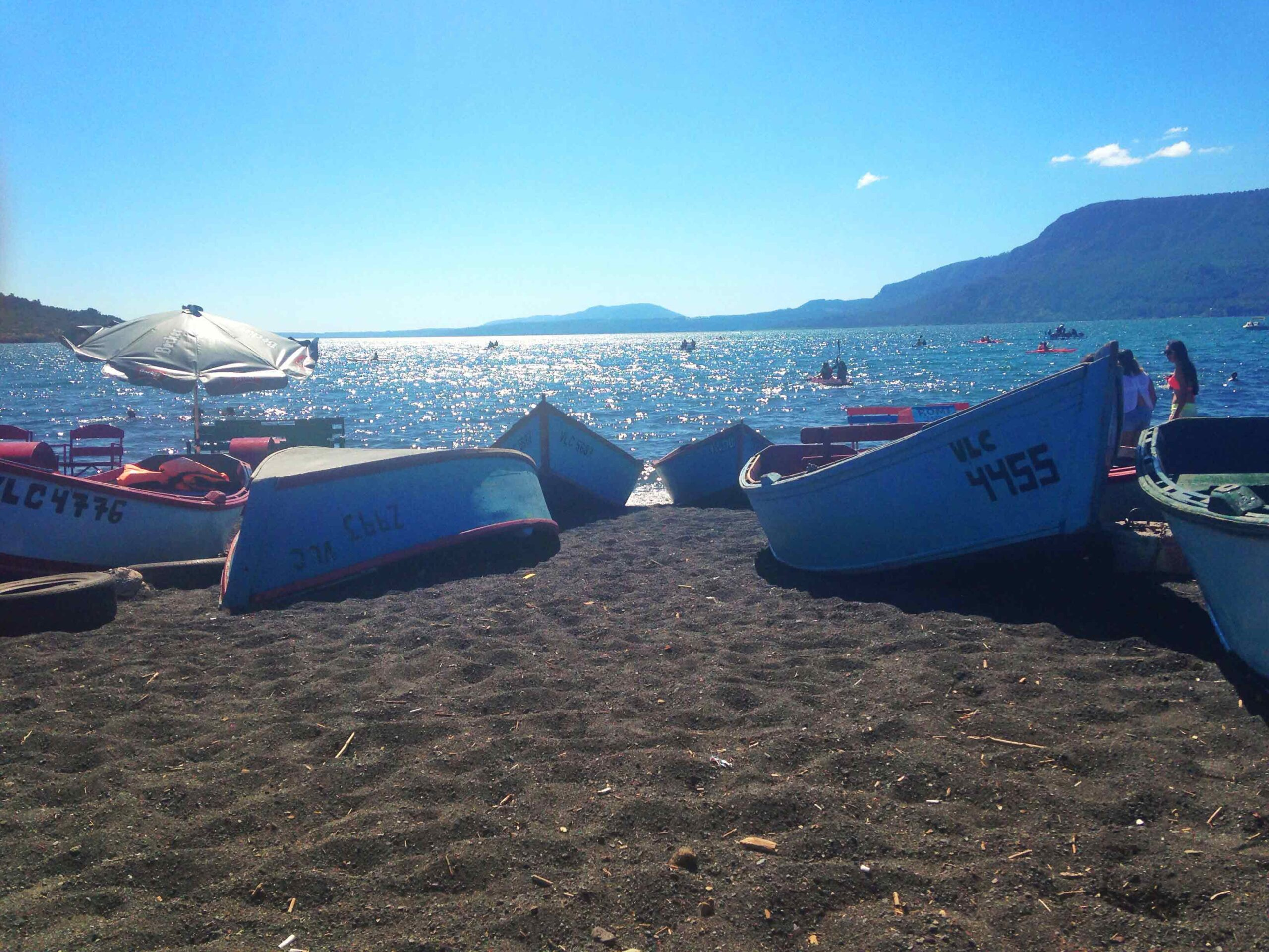 Boats on the beach of Pucon Chile