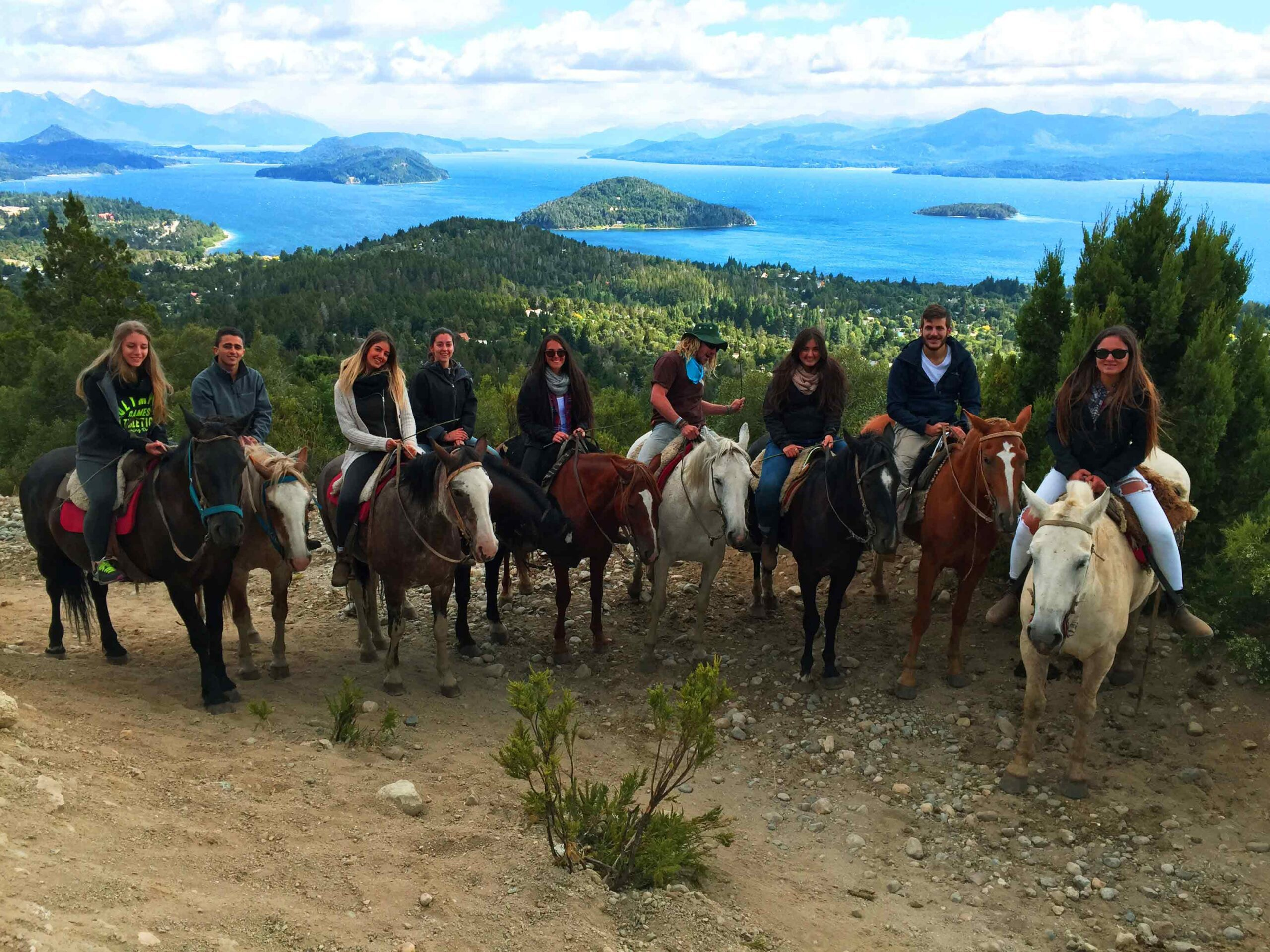 Horse riding group Bariloche view