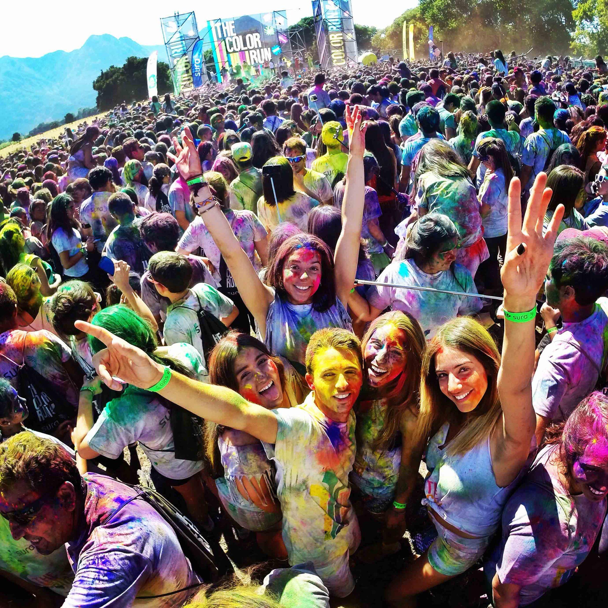 Colorrun Chili pucon crowd selfie