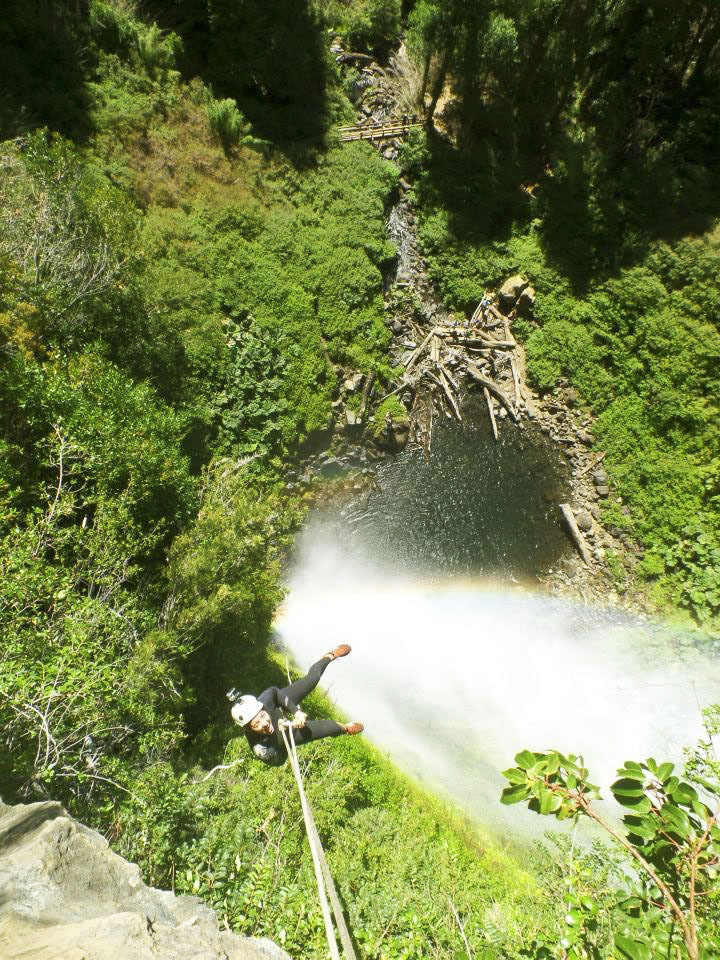 waterfalls pucon repelling rainbow
