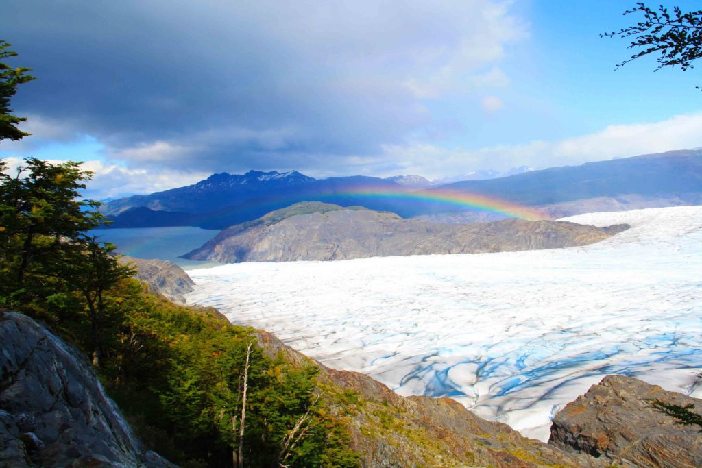 rainbow above glacier torres del paine