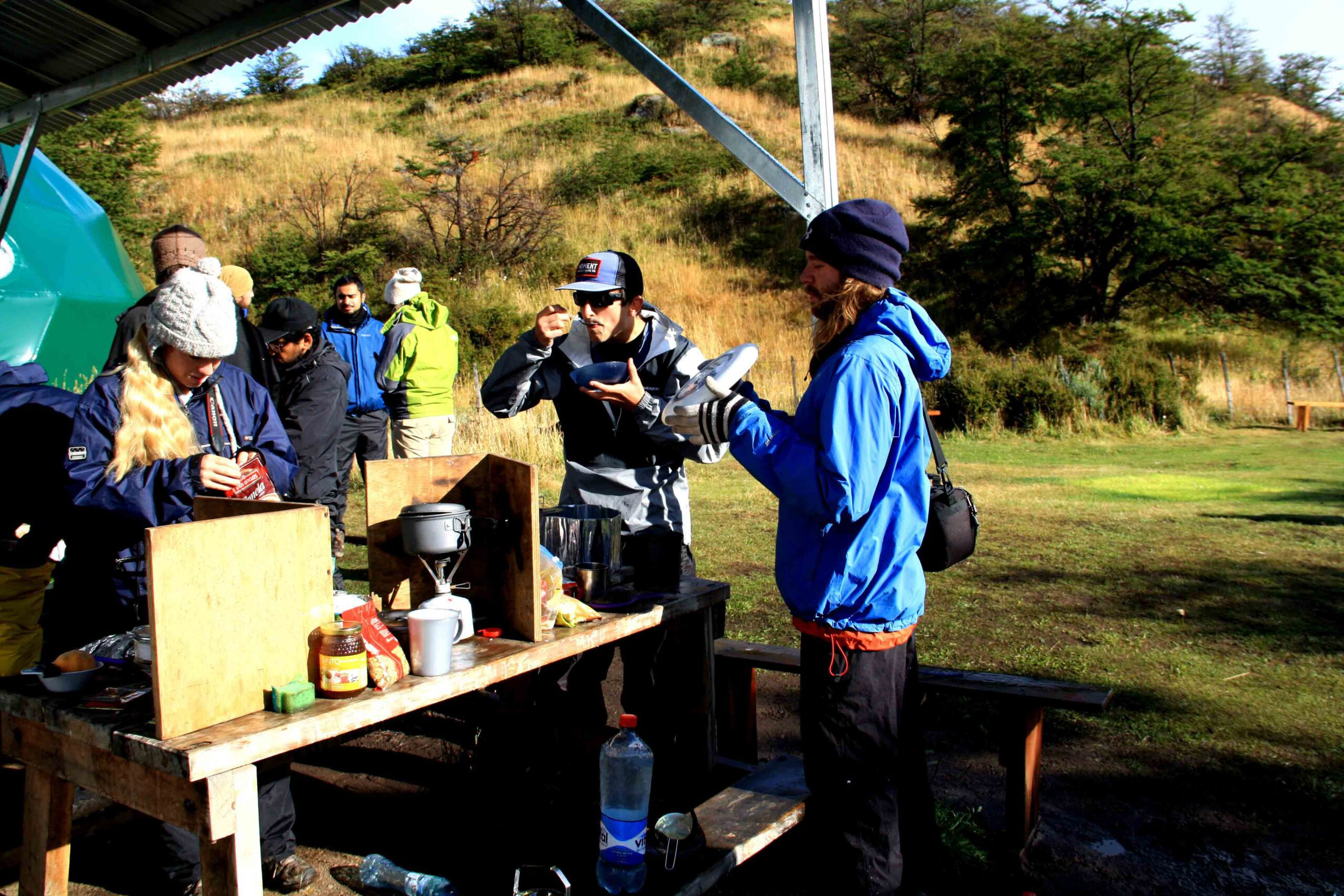 breakfast at camping torres del paine