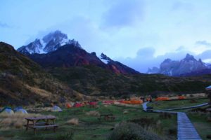 campground Paine Grande in Torres del Paine National Park Chile