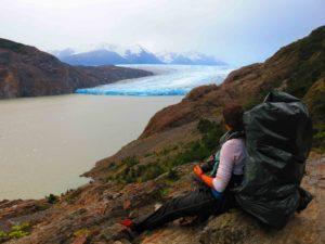 Glacier view torres del paine sitting down