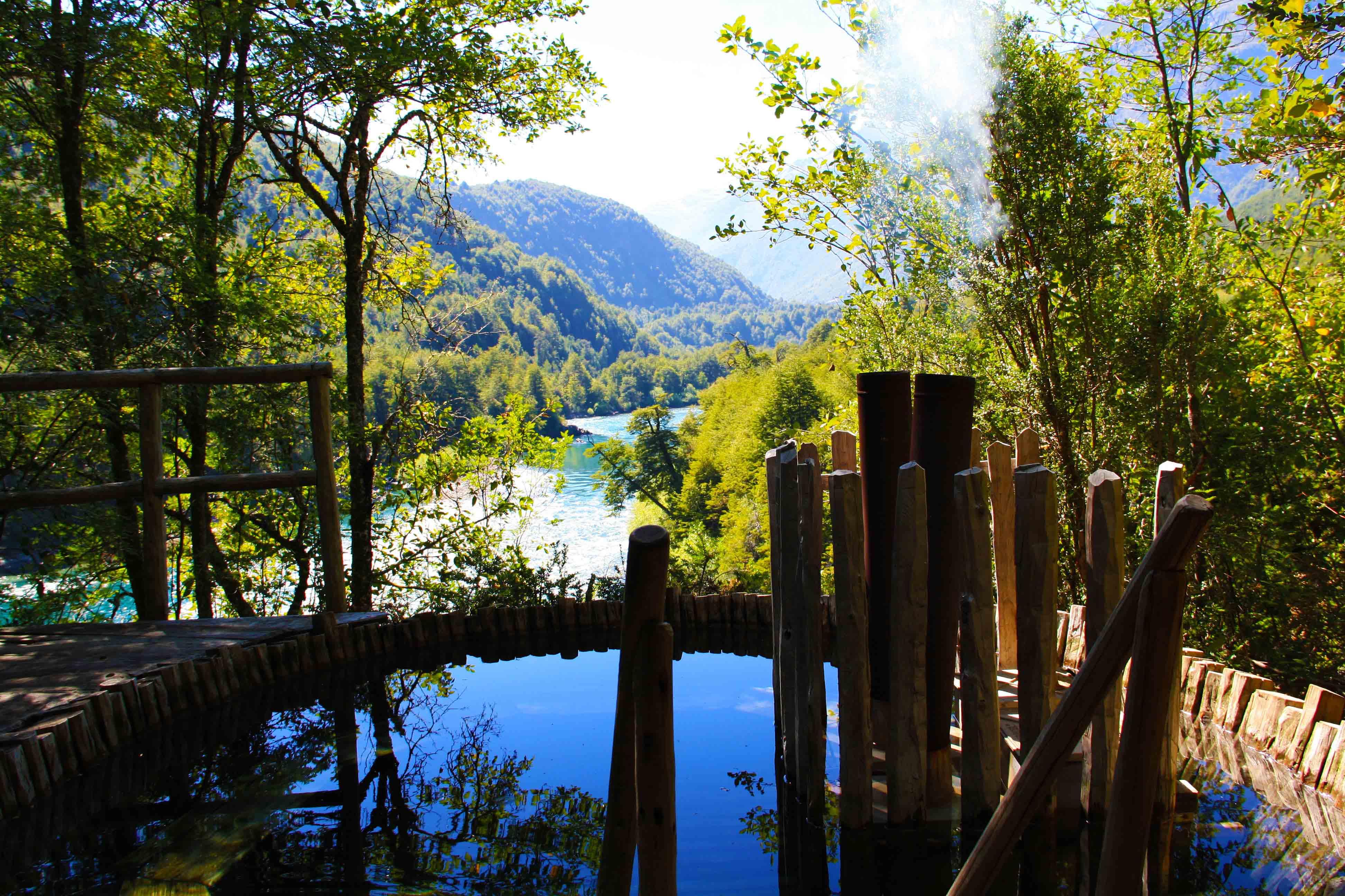 Hot tub futaleufu river view