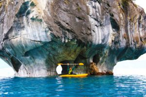kayaking marble caves on the Carretera Austral in Chile