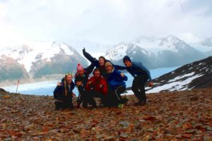 pass torres del paine top group hikers