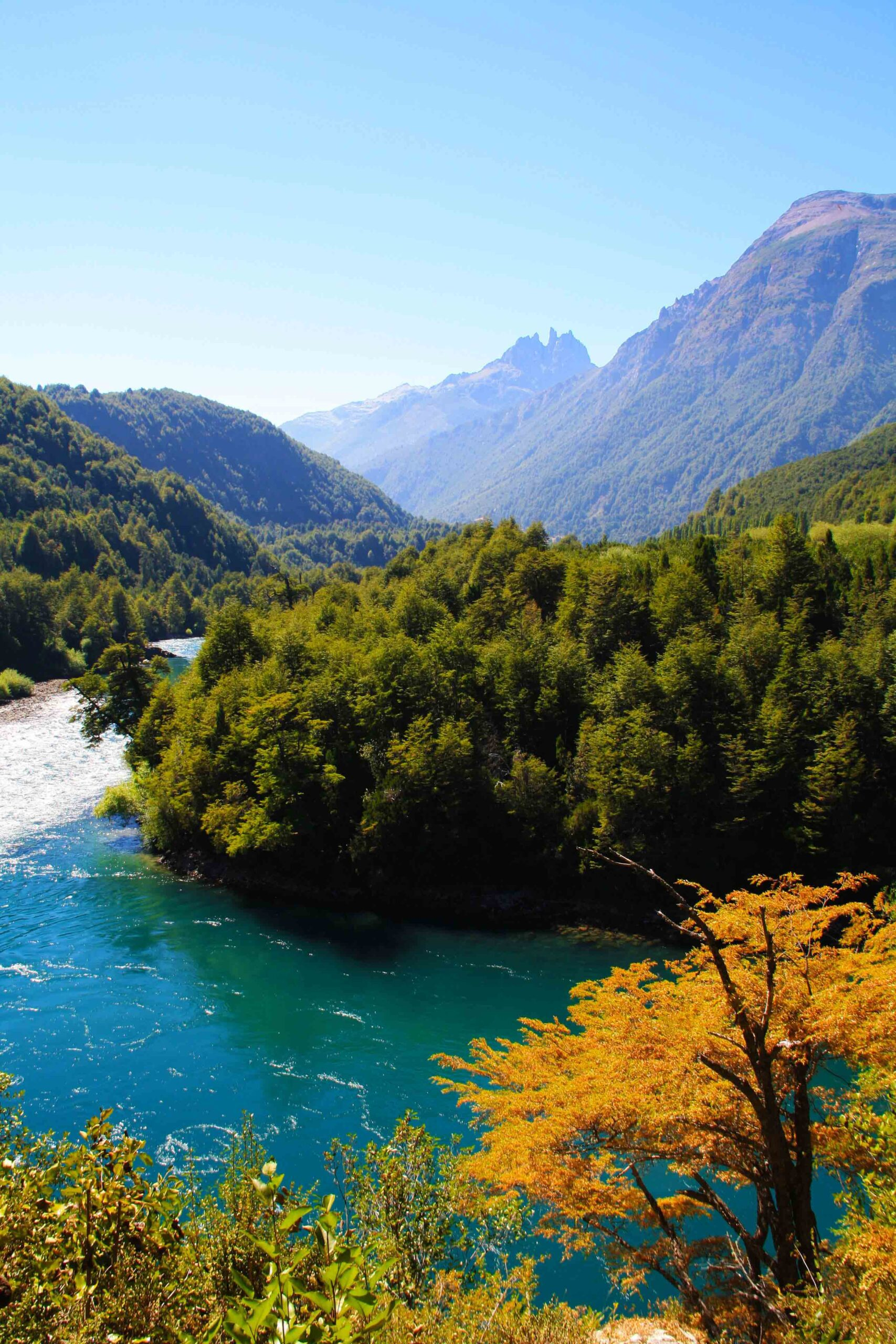 view of futaleufu river on the Carretera Austral in Chile