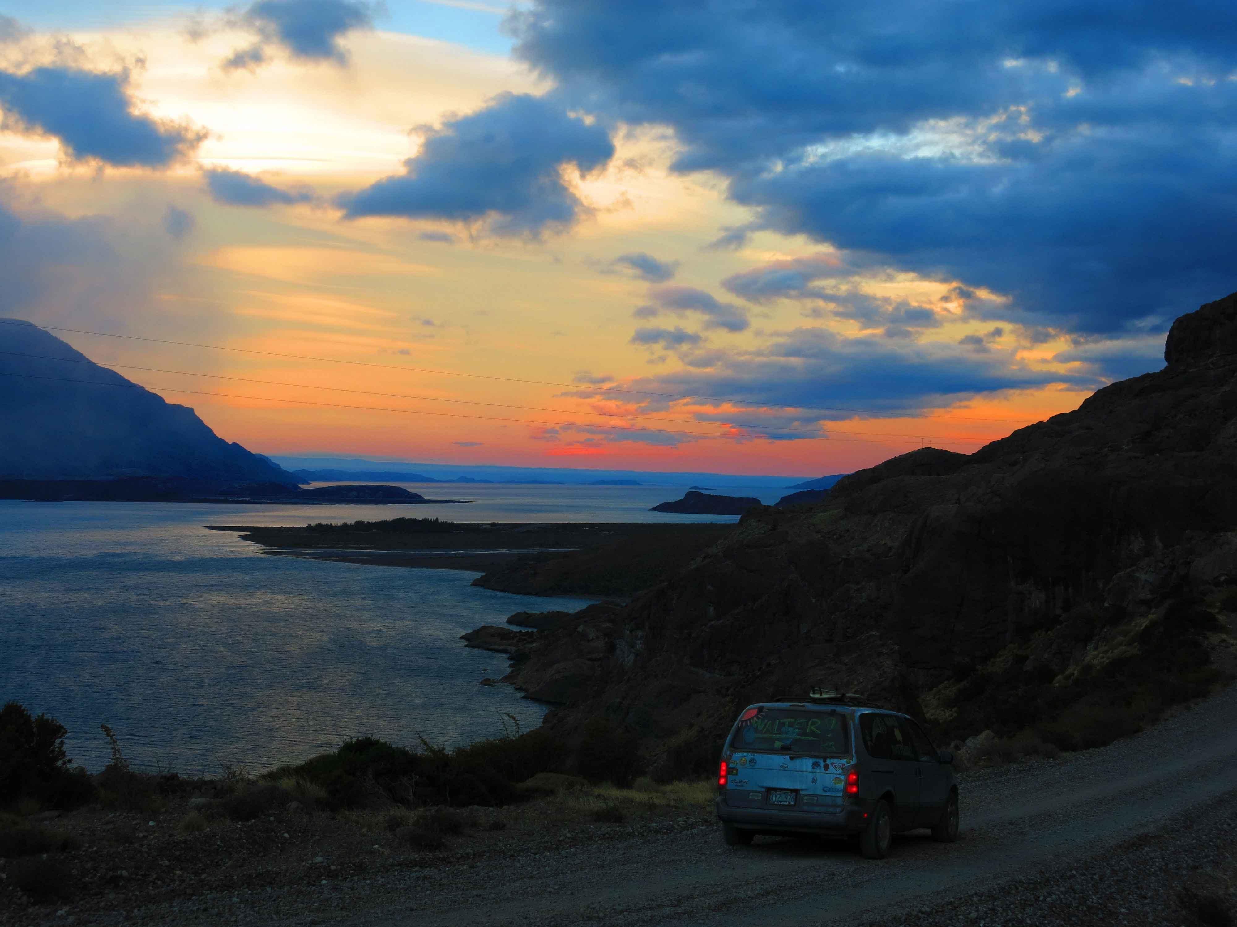car driving sunset