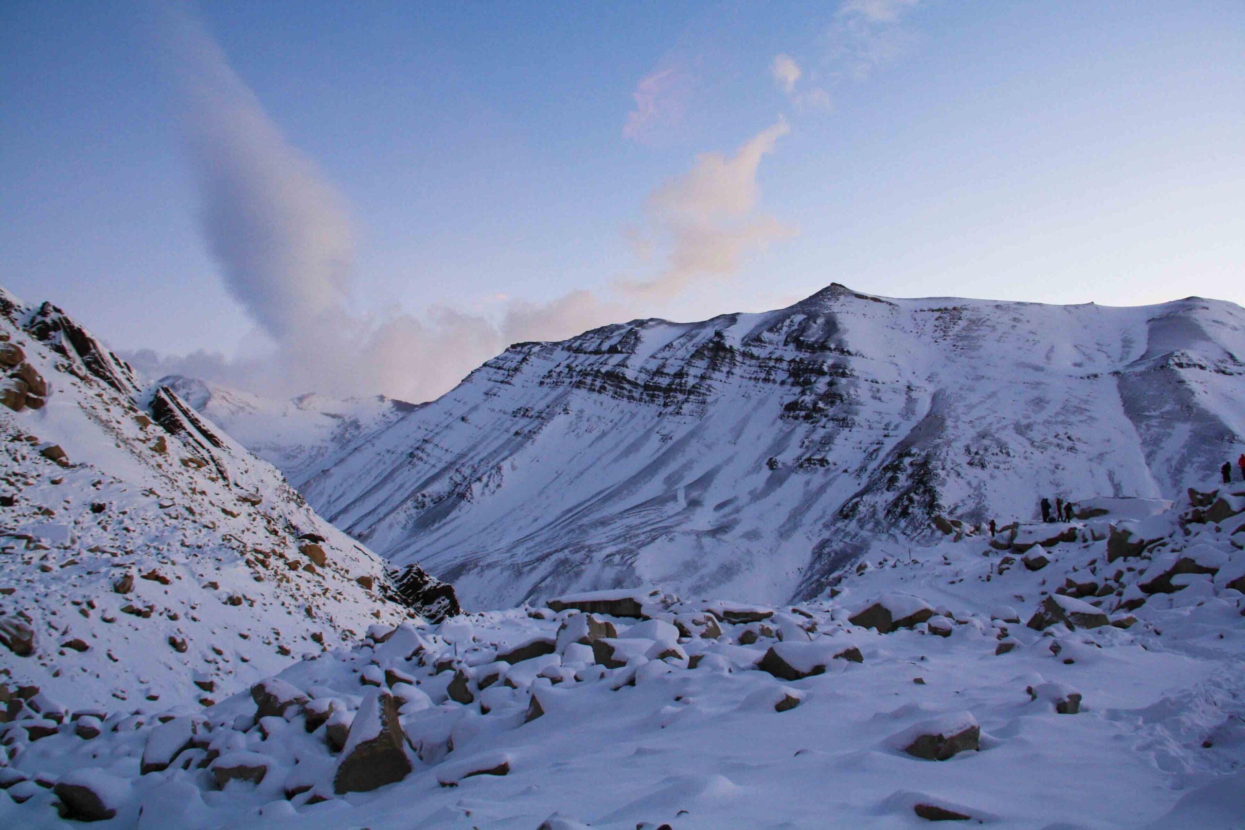 sunrise mountains snow