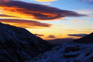 Sunrise snow torres del paine