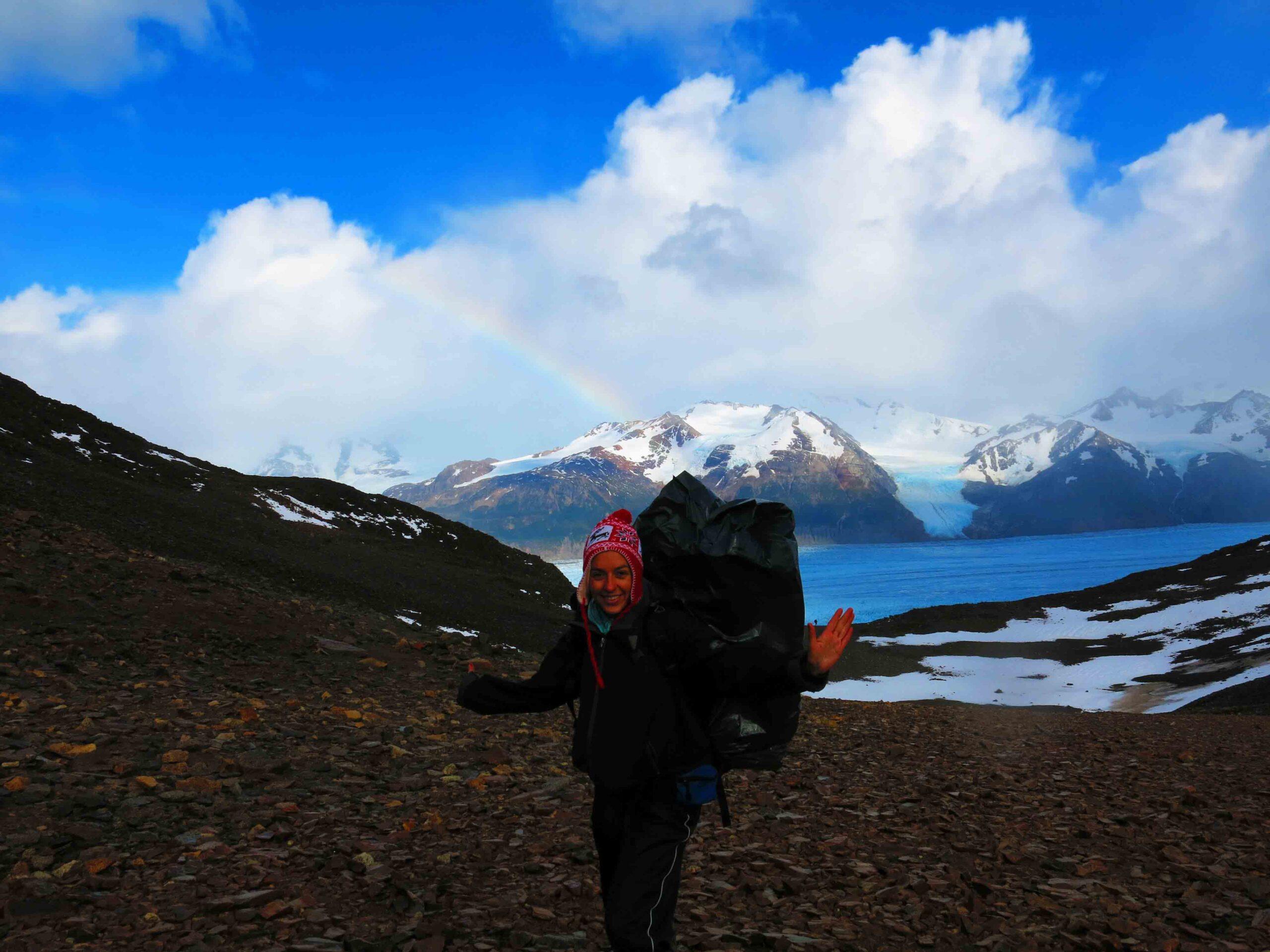 Rainbow views over glacier Grey in Torres del Paine Chile