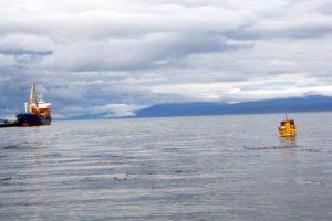 Fishing boats in Ushuaia Bay Argentina