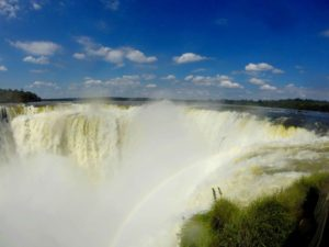 Rainbows at Devils throat Iguazu falls in Argentina