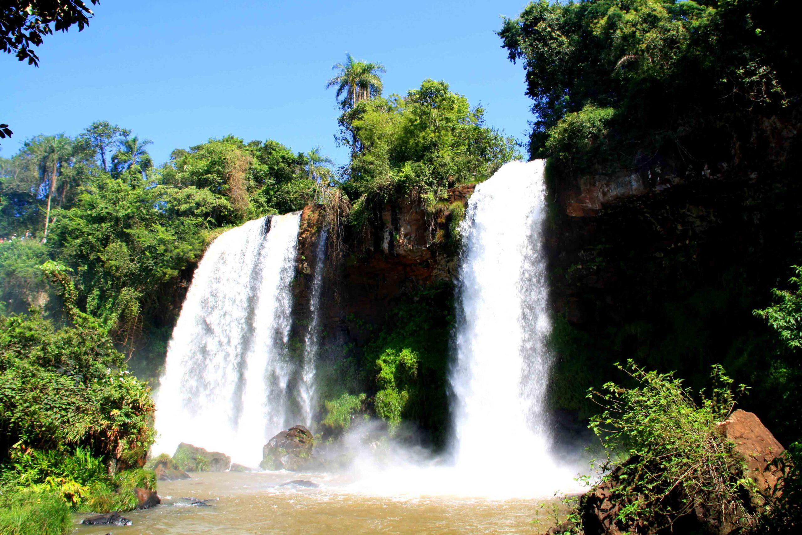 Rainforest and waterfalls at Iguazu in Argentina
