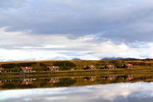 reflection houses lake ushuaia