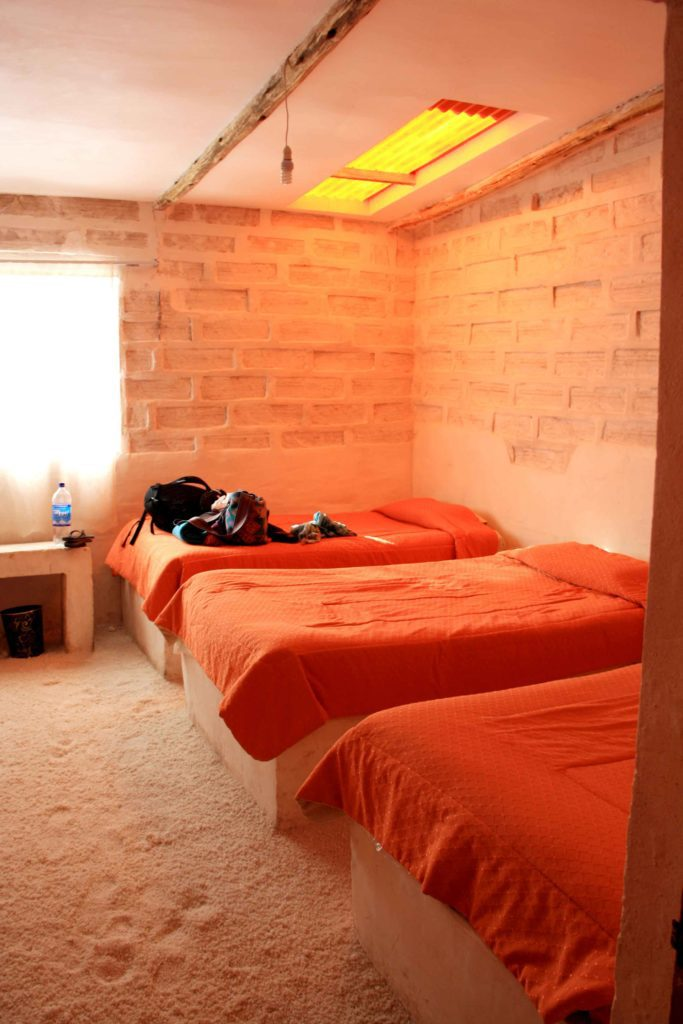 Salt hotel beds made of salt Uyuni