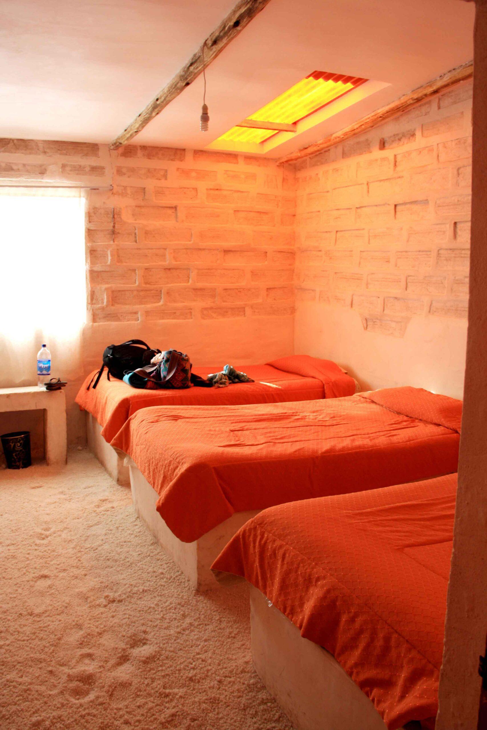 Salt hotel beds made of salt Uyuni