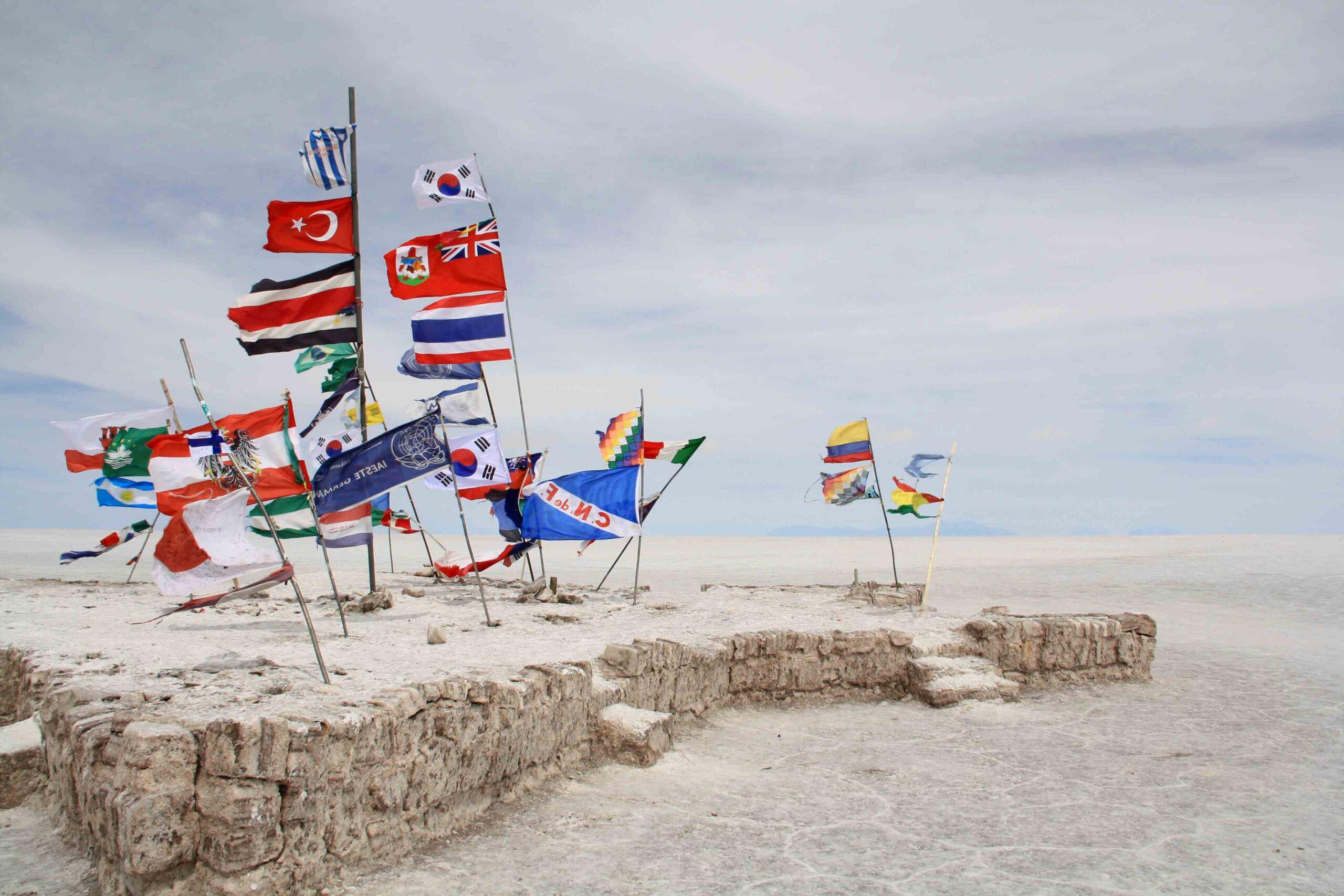 flags countries uyuni salt flats