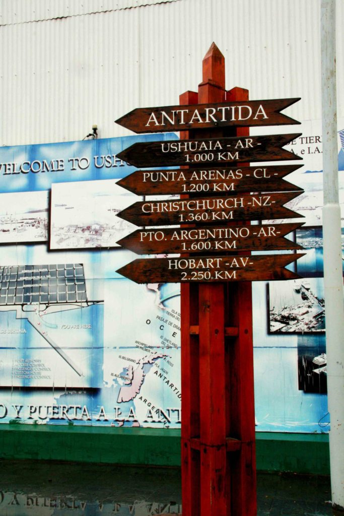 antartica sign kilometers ushuaia
