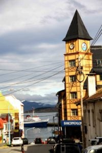Clock tower in Ushuaia Argentina