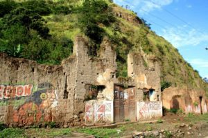 Floaded town on the Inca Jungle Trail Peru