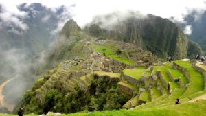 machu picchu clouds mountains view