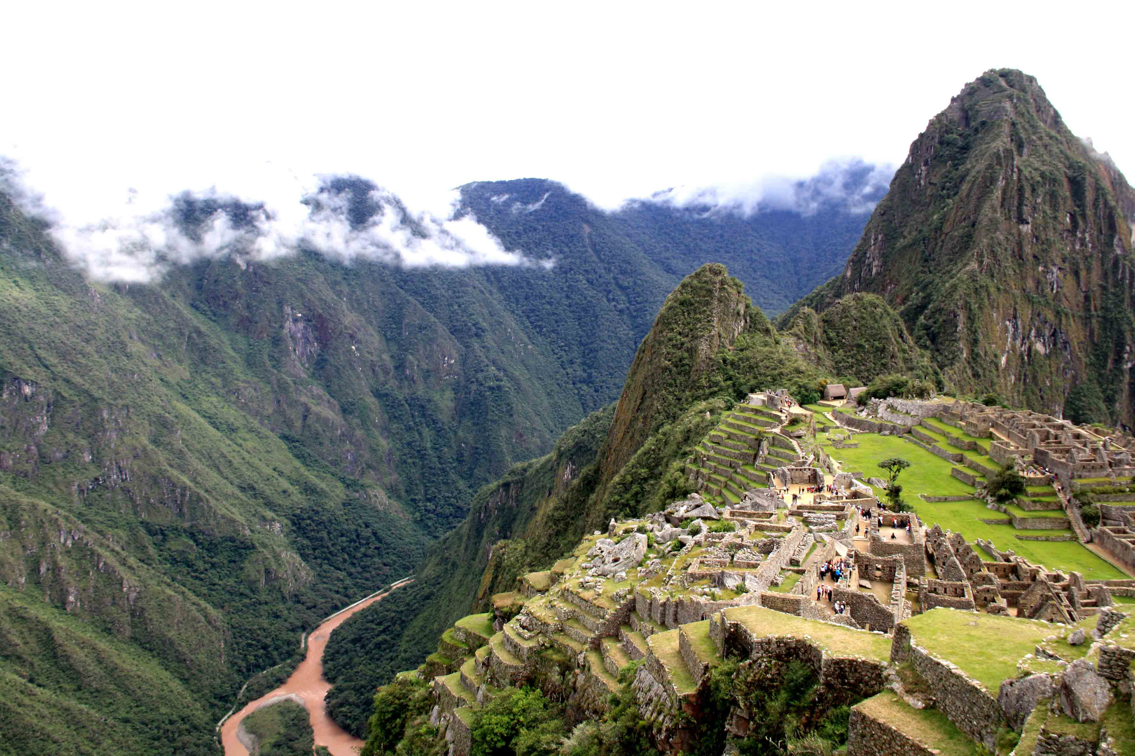 machu picchu view with clouds