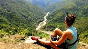 view mountains river inca jungle trail