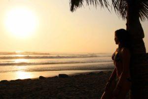 sunset palmtree huanchaco waves