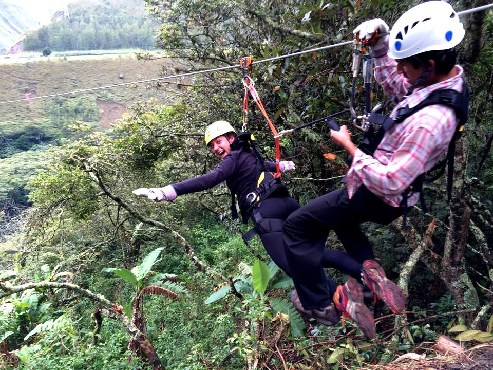 ziplining during inca jungle trail in Peru