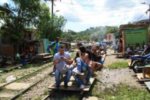 jungle town moto train in Colombia