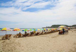 Montanita beach umbrellas