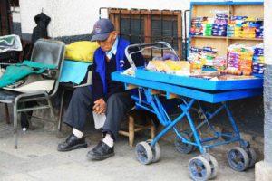 sleeping street seller in huaraz