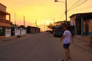 Puerto lopez streets sunset