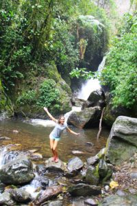 waterfall in the cloud forest of Salento Colombia