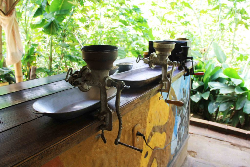 coffee grinders on the coffee farm Salento