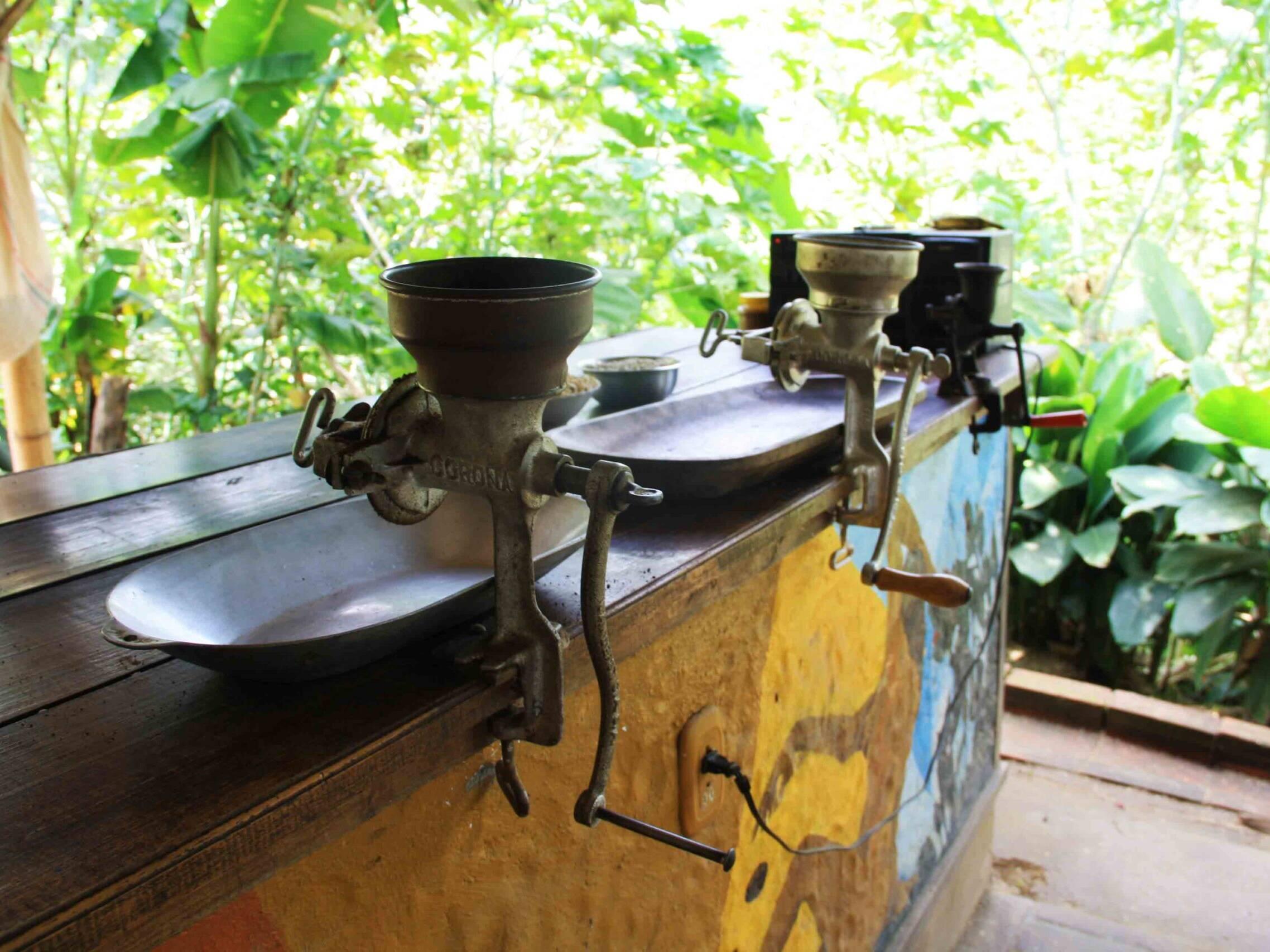 coffee grinders on the coffee farm Salento