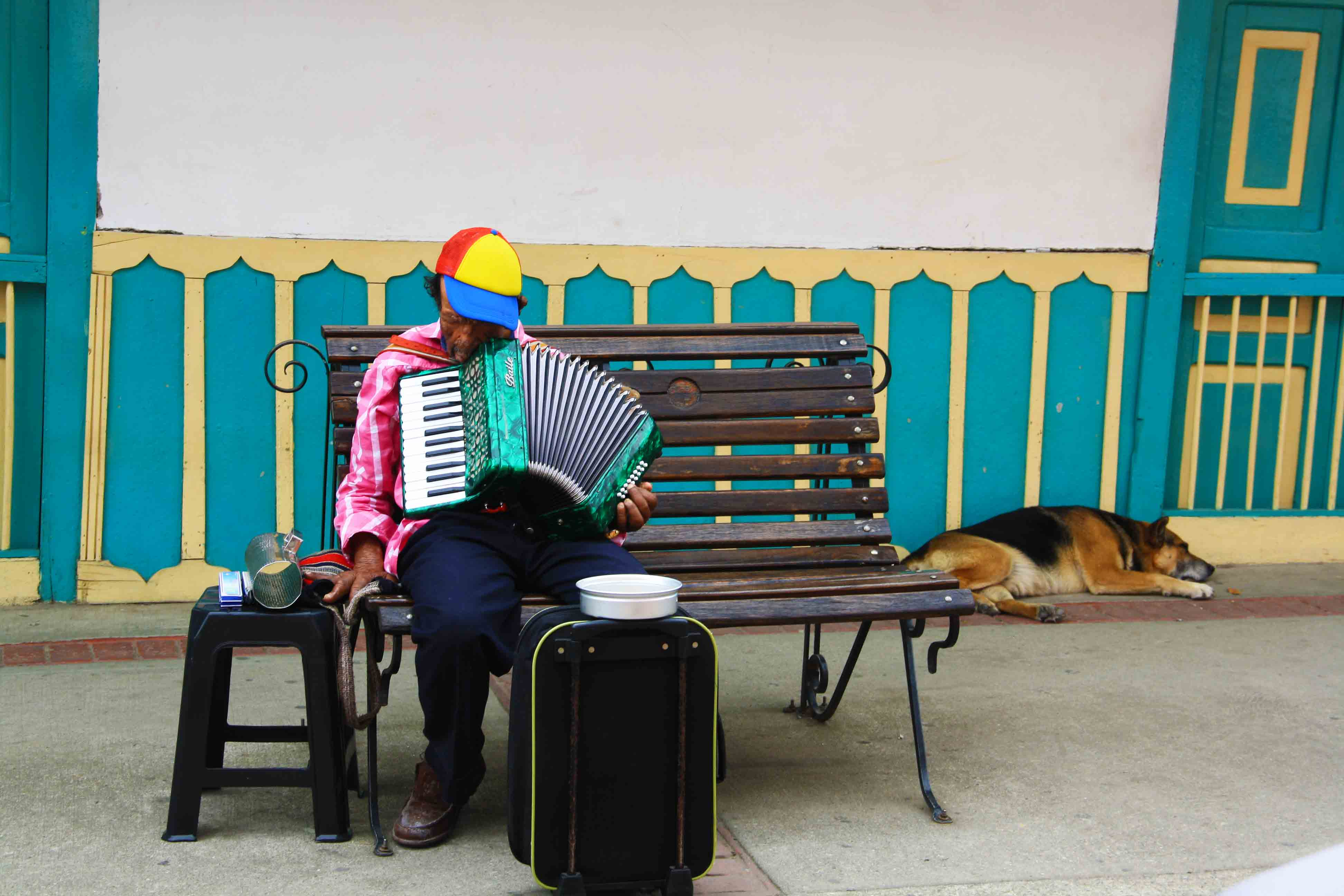 music man sleeping in the streets of Salento