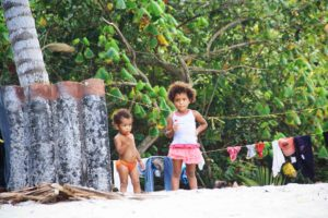 Local children at the Caribbean Coast of Colombia