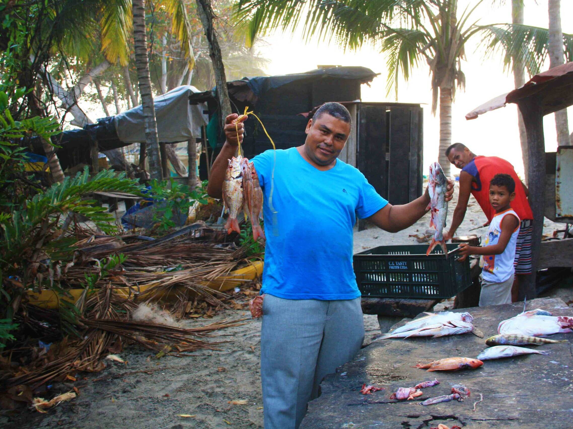 fishermen at caribbean coast in Colombia