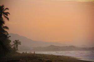 sunset at costeno beach surf camp