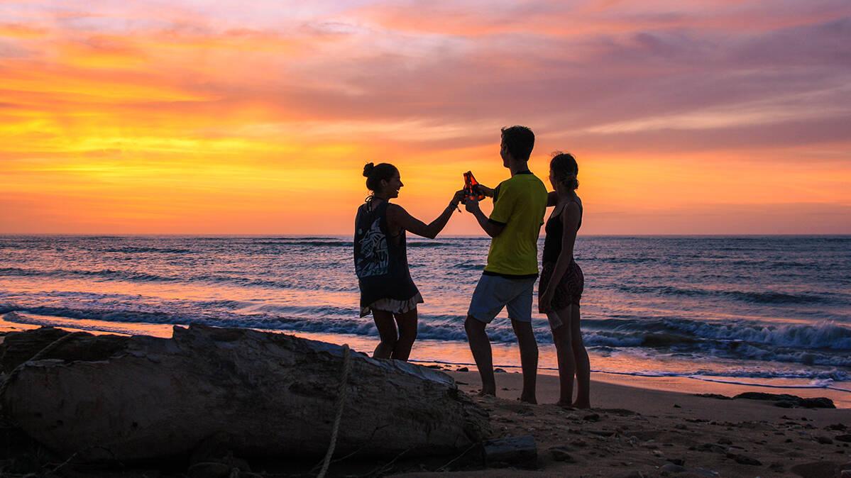 sunset beers at Punta Gallinas beach in La Guajira Colombia