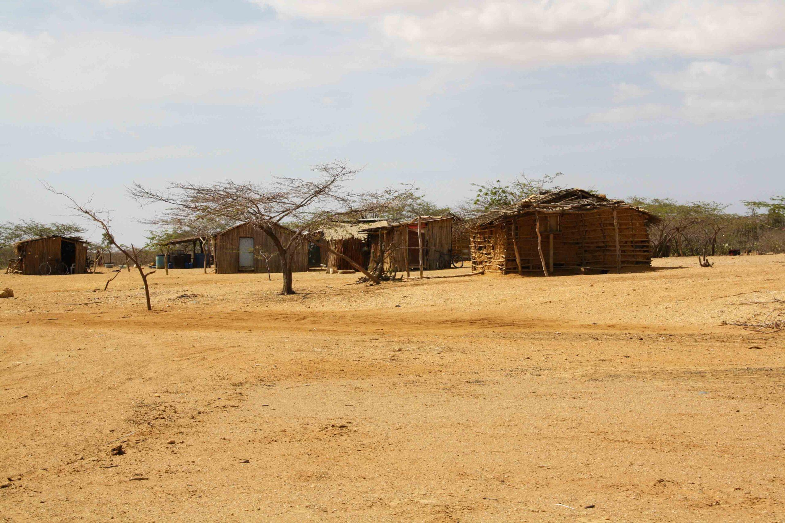 Wayuu tribe homes in the desert of La Guajira Colombia
