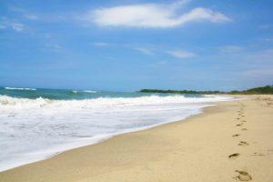 footsteps on an empty beach near rancho relaxo
