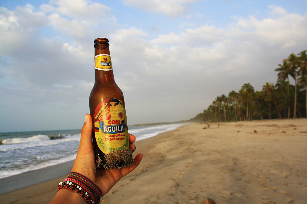 Aguila colombian beer palomino beach