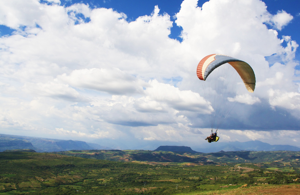 paragliding over the chicamocha canyon colombia south america