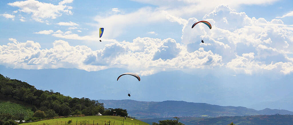 Paragliding over the Chicamocha canyon in San Gil Colombia