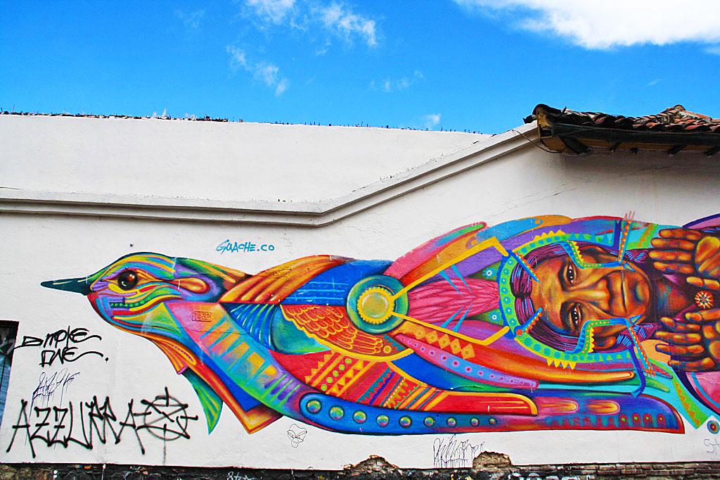 street art Guache in La Candelaria bogotá